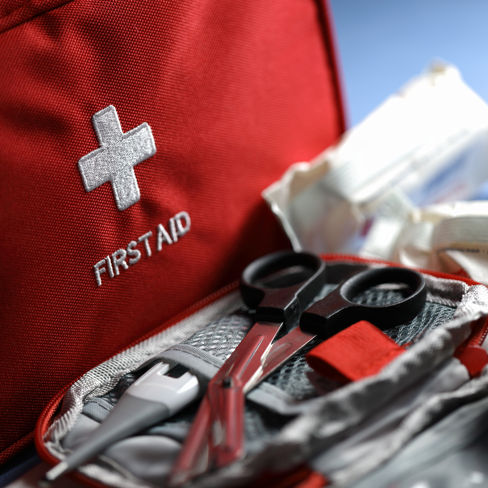 First aid supplies red